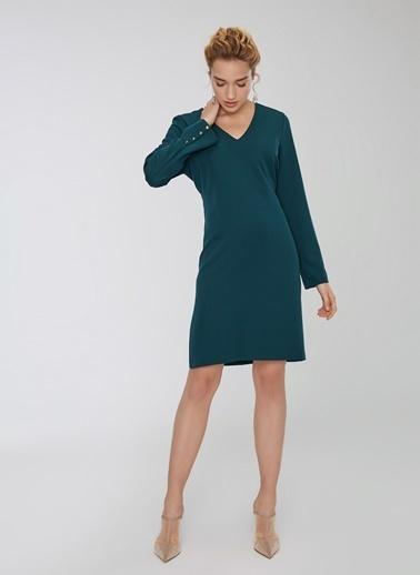 People By Fabrika Kol Detaylı V Yakalı Elbise Yeşil